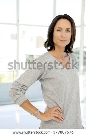 Beautiful modern middle-aged woman - portrait - stock photo