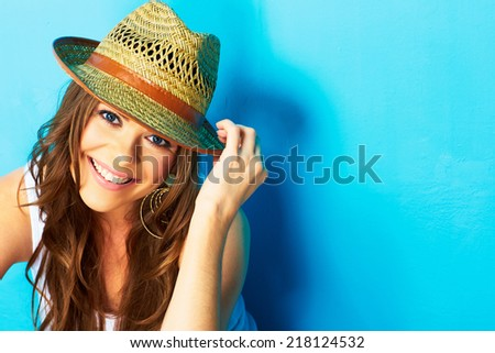beautiful modern woman portrait with big natural toothy smile . face close up . straw hat - stock photo