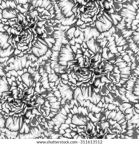 Beautiful monochrome, black and white seamless background with carnation. Hand-drawn with effect of drawing in watercolor - stock photo