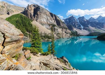 Beautiful Moraine lake in Banff National park,Canada - stock photo