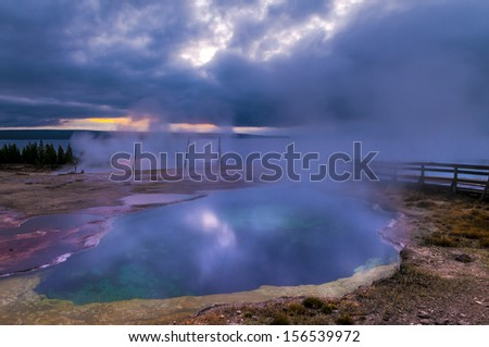 Beautiful Morning in West Thumb Geyser Basin with Yellowstone Lake in the background