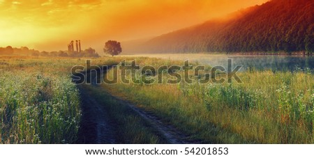 Beautiful morning landscape with the river - stock photo