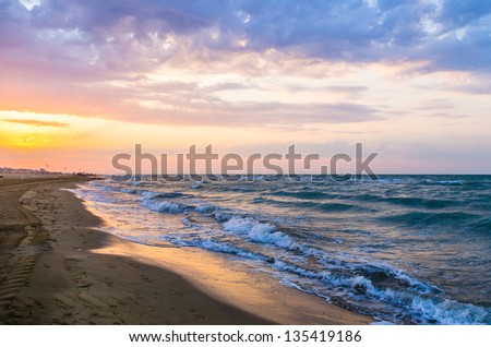 beautiful morning light on beach