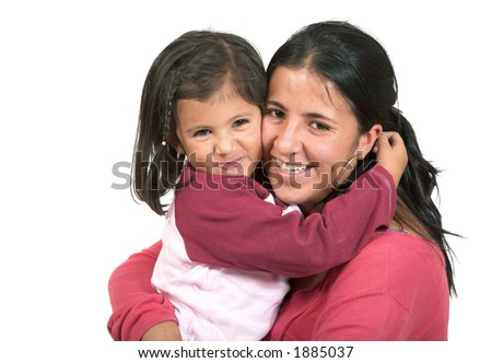 beautiful mother and daughter over white