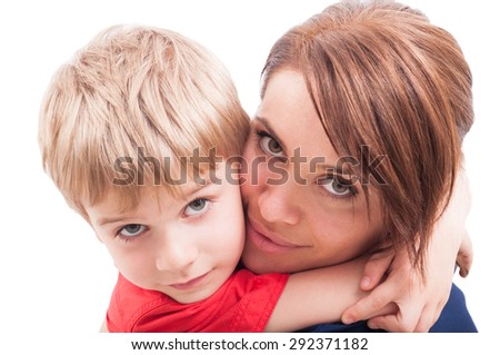 Beautiful mother and son hugging. Motherhood and childhood concept - stock photo