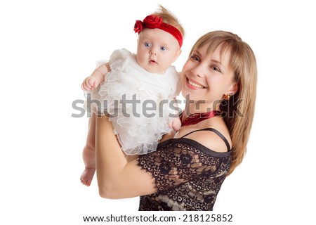 beautiful mother with her daughter isolated on white background - stock photo