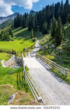 Beautiful Mounain Landscape in the Alps, in St.  Switzerland - stock photo