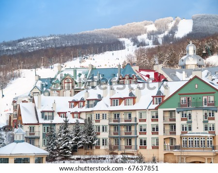 Beautiful Mount-Tremblant ski resort winter view Canada - stock photo