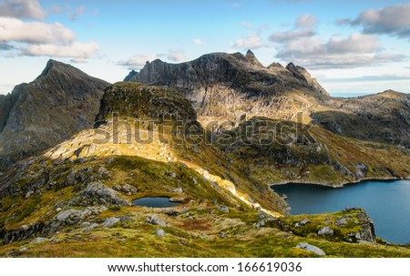 Beautiful mountain evening view in a wilder part of Lofoten islands, Norway - stock photo