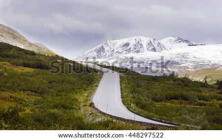 Beautiful mountain highway toward Haynes,  Alaska - stock photo