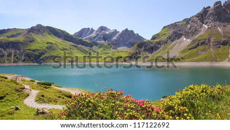 beautiful mountain lake in the austrian alps - stock photo