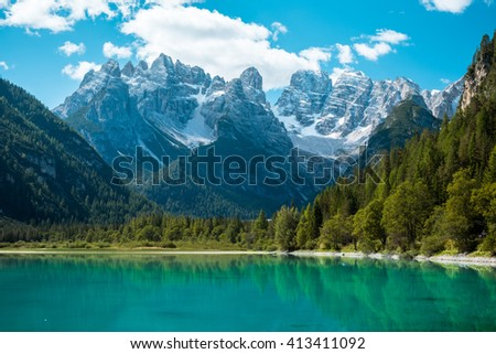 Beautiful mountain lake Landro in Dolomites Alps, Italy