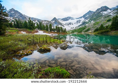 Beautiful mountain lake with reflection of nearest mountains