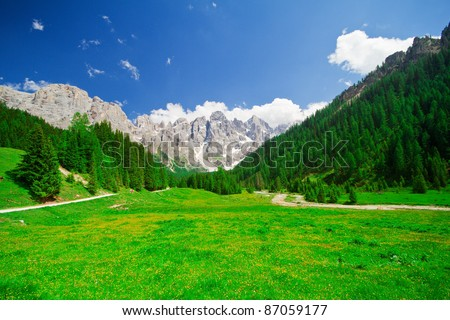 Beautiful mountain landscape and panoramic view on Alps Italy