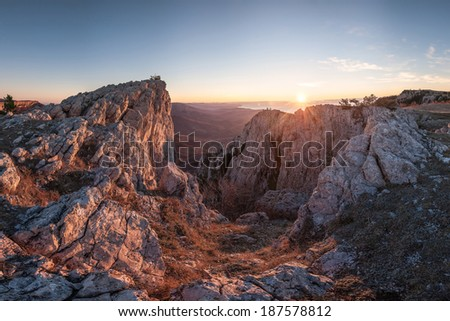 Beautiful mountain landscape at sunrise - stock photo