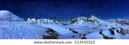 beautiful mountain landscape by night under starry sky
