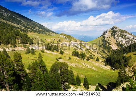 Beautiful mountain landscape in august. Pyrenees - stock photo