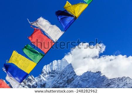 Beautiful mountain landscape in Nepal - stock photo