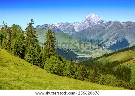 Beautiful mountain landscape in Pyrenees, Andorra - stock photo