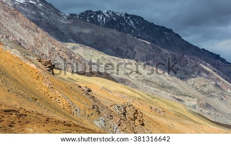 Beautiful mountain landscape near the Tso Moriri lake and Karzok village in Rupshu valley against the background of cloudly sky - Tibet, Leh, Ladakh, Himalayas, Jammu and Kashmir, Northern India - stock photo