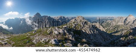 Beautiful mountain landscape of Julian Alps. Breathtaking views from the path to Bovski Gamsovec mountain