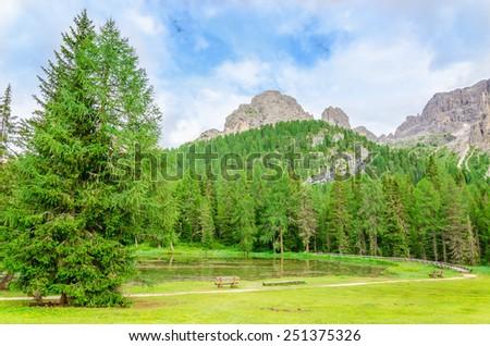 Beautiful mountain landscape, Sexten Dolomites, South Tyrol, Italy - stock photo
