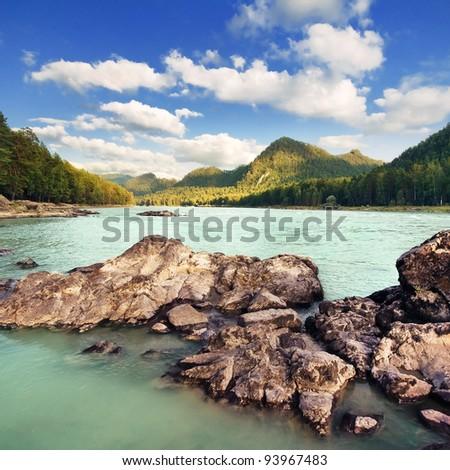 Beautiful mountain landscape with river. Altai, Russia - stock photo