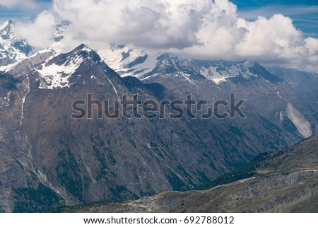 Beautiful mountain landscape with views on Zermatt valley and Matterhorn peak in Pennine alps, Zermatt, Valais, Switzerland, Europe