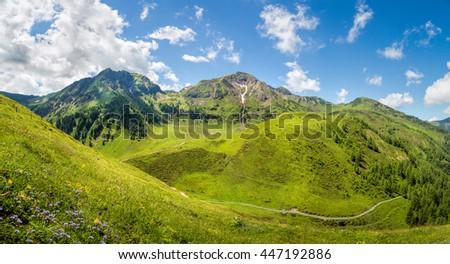 Beautiful mountain panorama landscape in the alps, Tyrol, Austria - stock photo