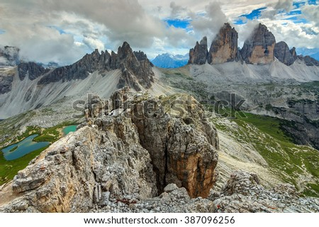 Beautiful mountain ridges and turquoise lakes in the Dolomites,Tre Cime di Lavaredo mountain group,Italy,Europe