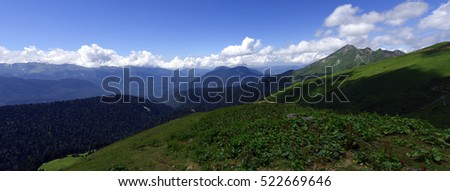 Beautiful mountain scenery in the bright summer day, Sochi, Krasnaya Polyana, Russia
