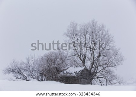 Beautiful mountain scenery in winter - stock photo