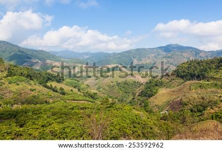 Beautiful mountain view near Mae Salong, Northern Thailand. - stock photo
