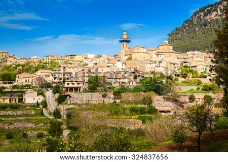 beautiful mountain village Valldemossa on the hill, Mallorca, Spain - stock photo