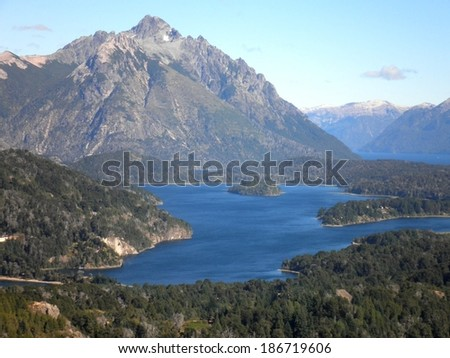 Beautiful mountains and lake in Patagonia, Argentina. - stock photo