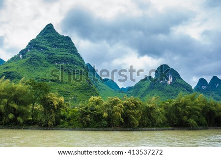 Beautiful mountains and river scenery at Guilin, China