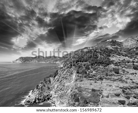 Beautiful Mountains and Sea of Cinque Terre in Spring Season, Italy. - stock photo
