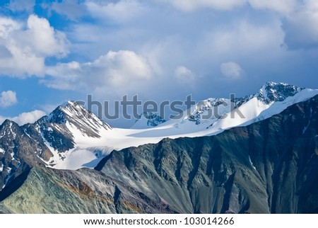 beautiful mountains in a snow