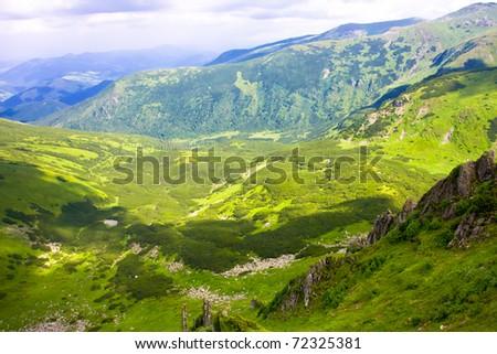 Beautiful mountains landscape in Carpathian - stock photo