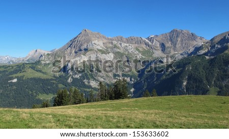 Beautiful mountains near Gstaad, Swiss Alps