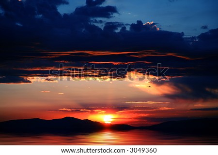 Beautiful mountains with spectacular sunrise or sunset at Lake Tahoe in California and Nevada - stock photo