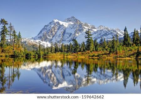 Beautiful Mt. Shuksan Reflecting on Picture Lake - stock photo