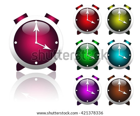 Beautiful multi-colored stylized alarm clocks isolated on a white background. - stock photo