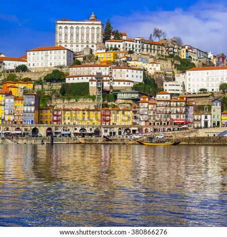 beautiful multicolored Porto city. Portugal - stock photo