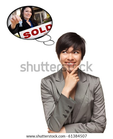 Beautiful Multiethnic Woman with Thought Bubbles of Real Estate Agent Holding Sold Sign Handing Over Keys Isolated on a White Background.