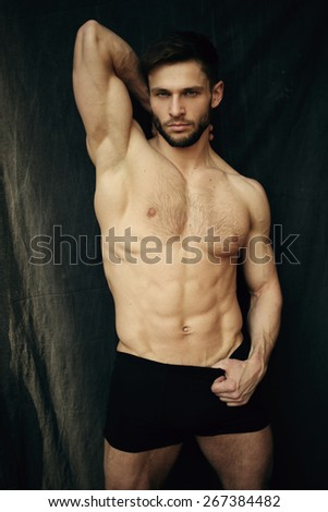 Beautiful muscular male model with nice abs