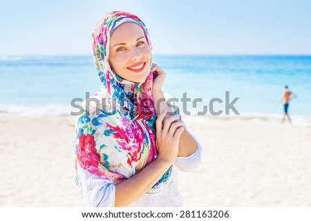 beautiful muslim caucasian (russian) woman  - stock photo