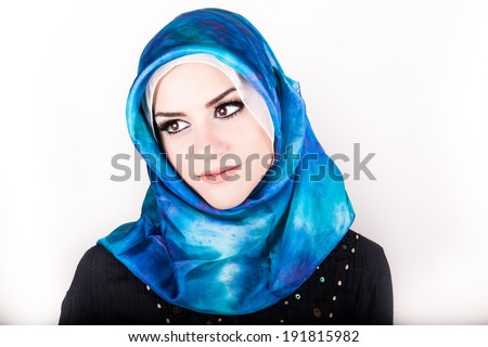 beautiful muslim woman wearing hijab  - stock photo