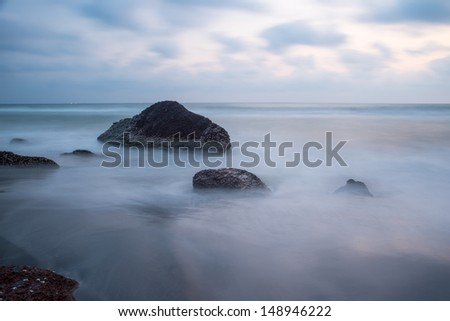 beautiful mystical fog on the ocean - stock photo
