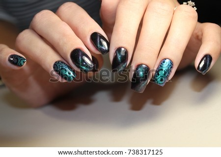 Beautiful nail art manicure nail designs stock photo 738317125 beautiful nail art manicure nail designs with decorationnicure nail paint prinsesfo Image collections